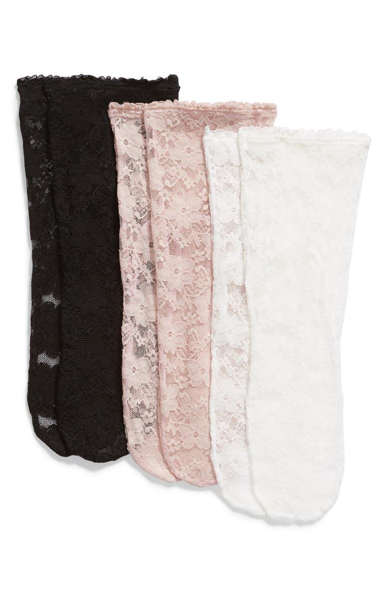 HUE 3-Pack Floral Lace Anklet Socks, Main, color, 009