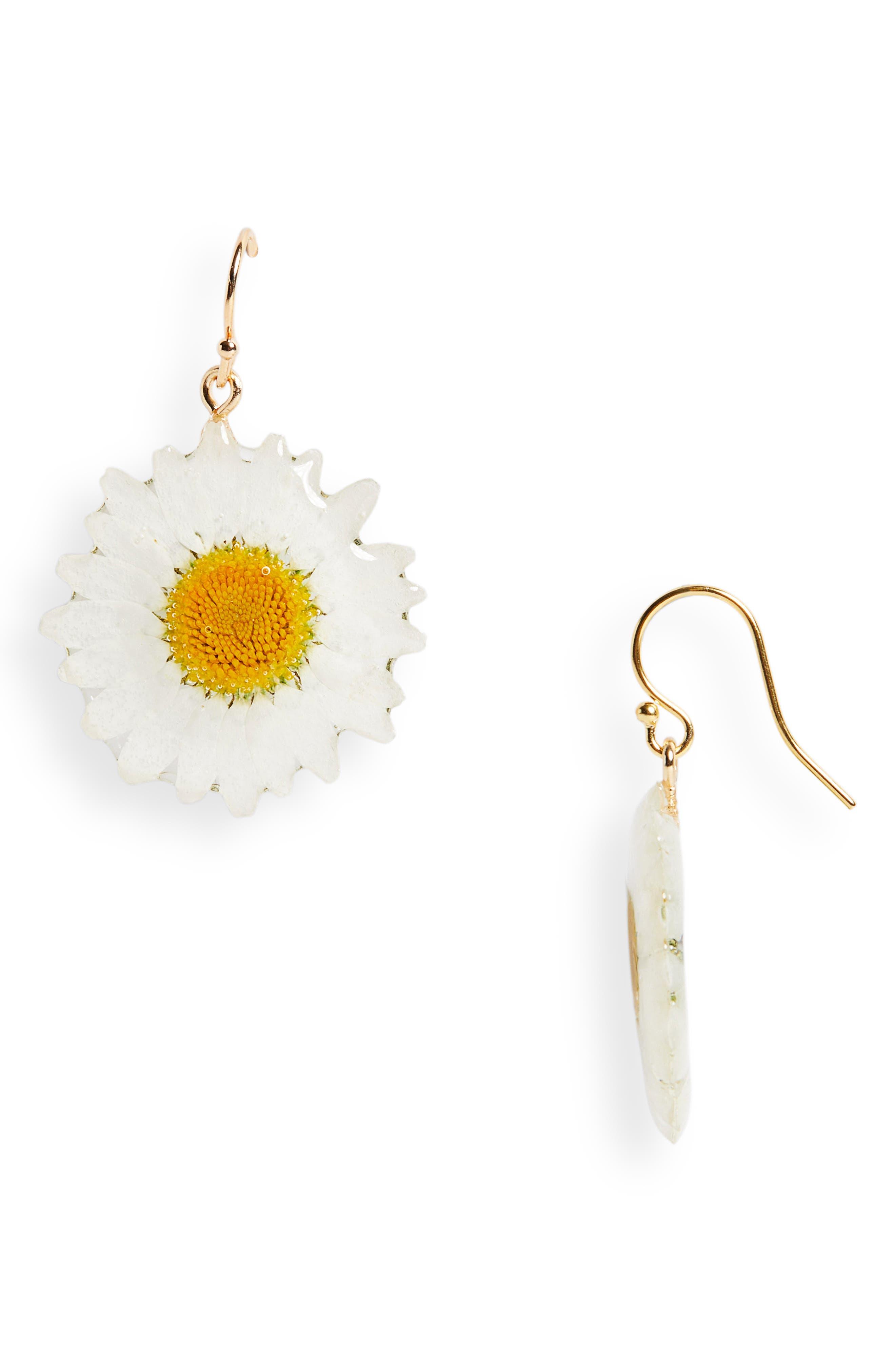 Pressed Daisy Drop Earrings