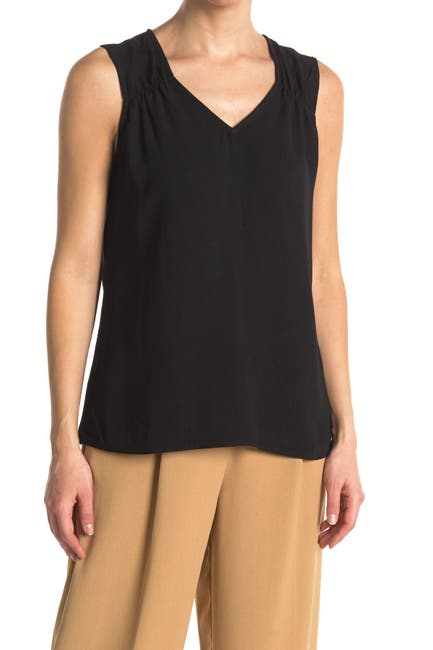 Image of 14th & Union Printed Gathered Shoulder Sleeveless Top
