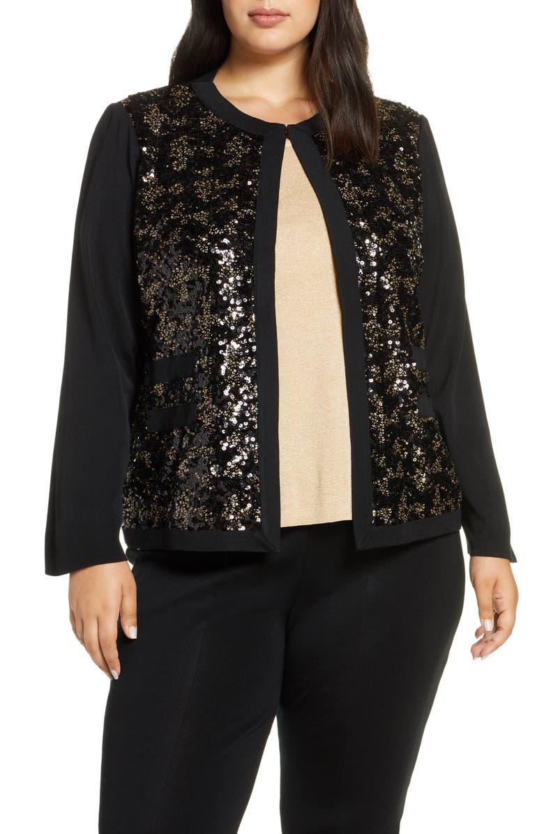 MING WANG Sequin Front Knit Jacket, Main, color, 710