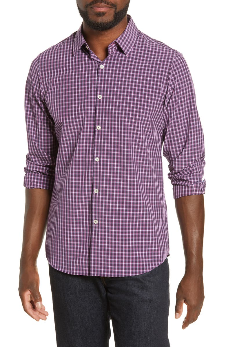 MOVE PERFORMANCE APPAREL Regular Fit Button-Up Plaid Performance Shirt, Main, color, PURPLE