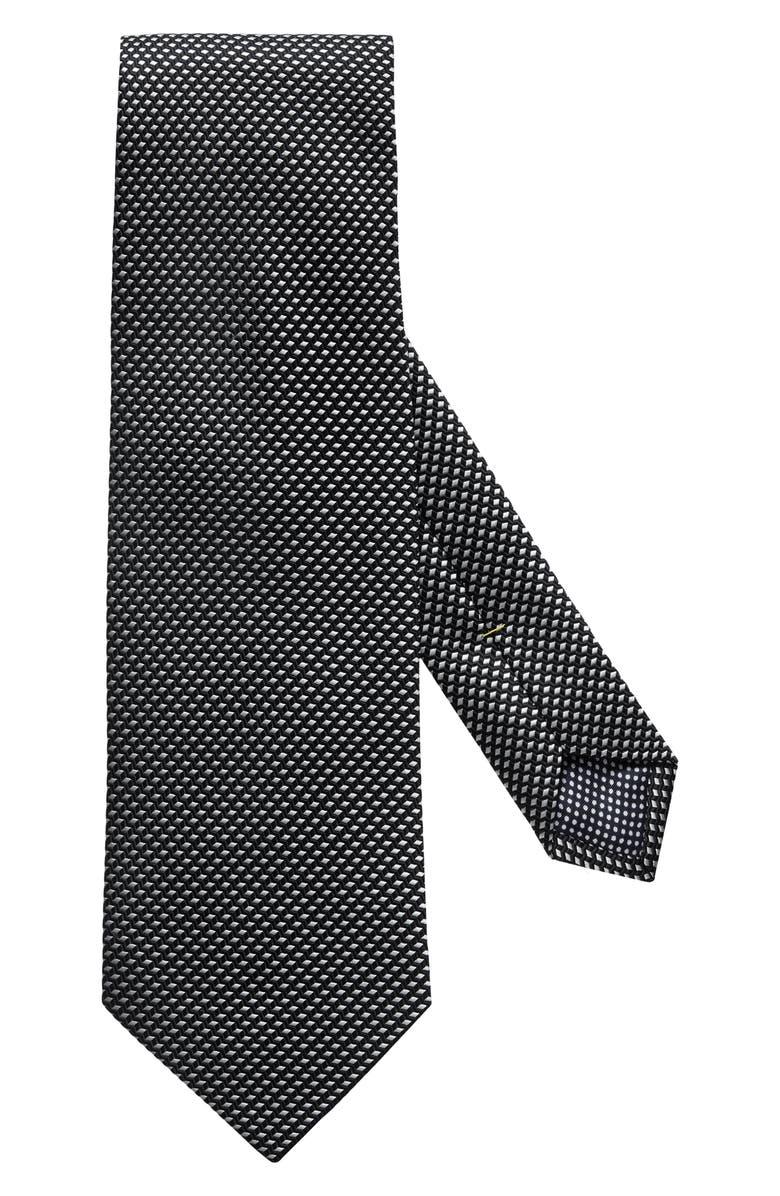ETON Solid Silk Tie, Main, color, BLACK