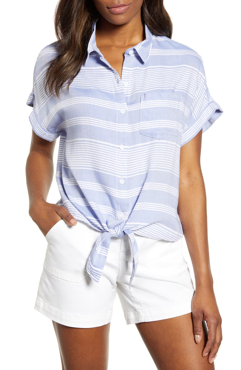 BEACHLUNCHLOUNGE Brooklyn Stripe Tie Front Shirt, Main, color, CLASSIC