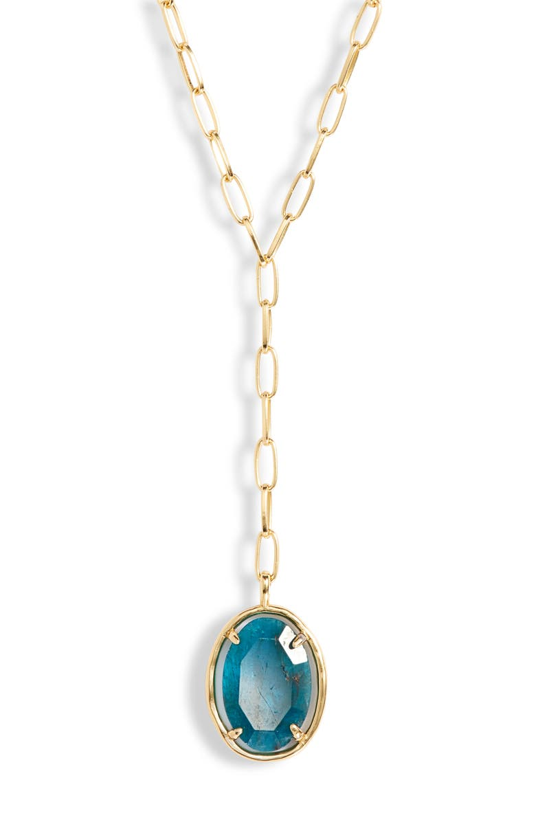 GORJANA Riviera Y-Necklace, Main, color, GOLD/ APATITE