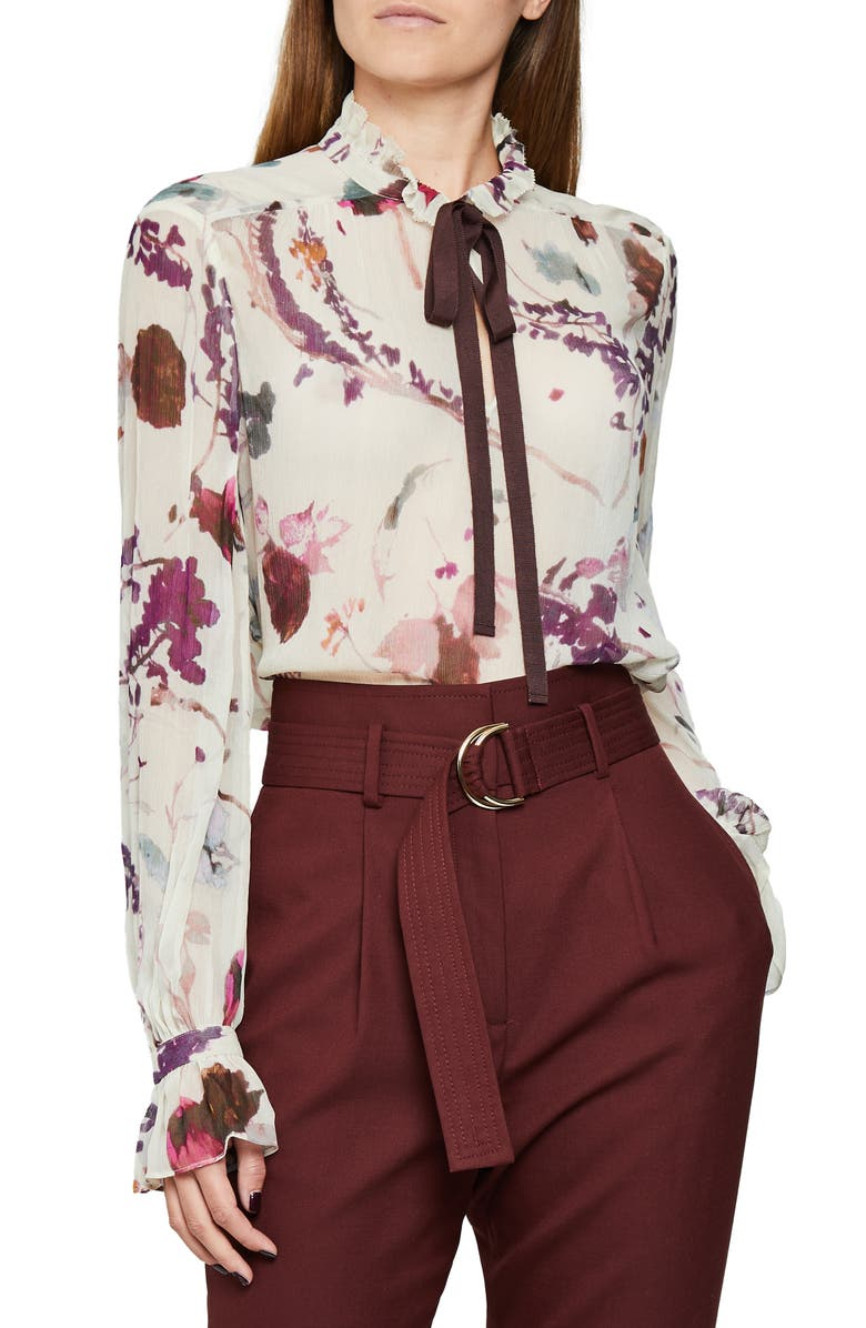 REISS Rosa Romantic Floral Blouse, Main, color, CREAM