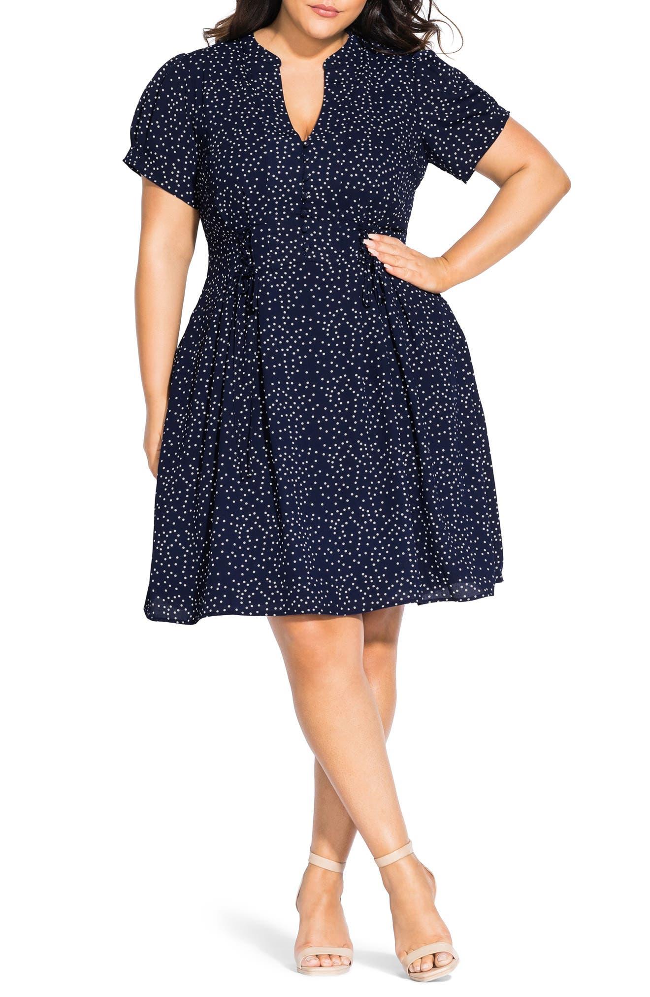 Plus Size City Chic Blue Skies Fit & Flare Dress, Blue