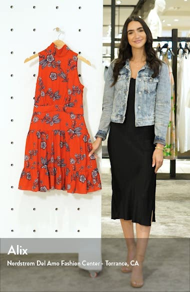 Floral Mock Neck Crepe Fit & Flare Minidress, sales video thumbnail