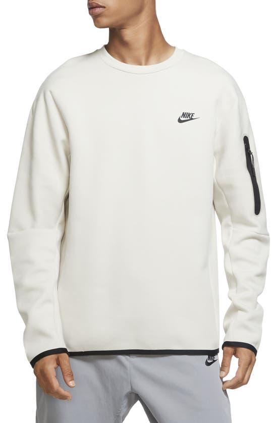 Nike Sportswear Tech Fleece Crewneck Sweatshirt In Light Bone/black