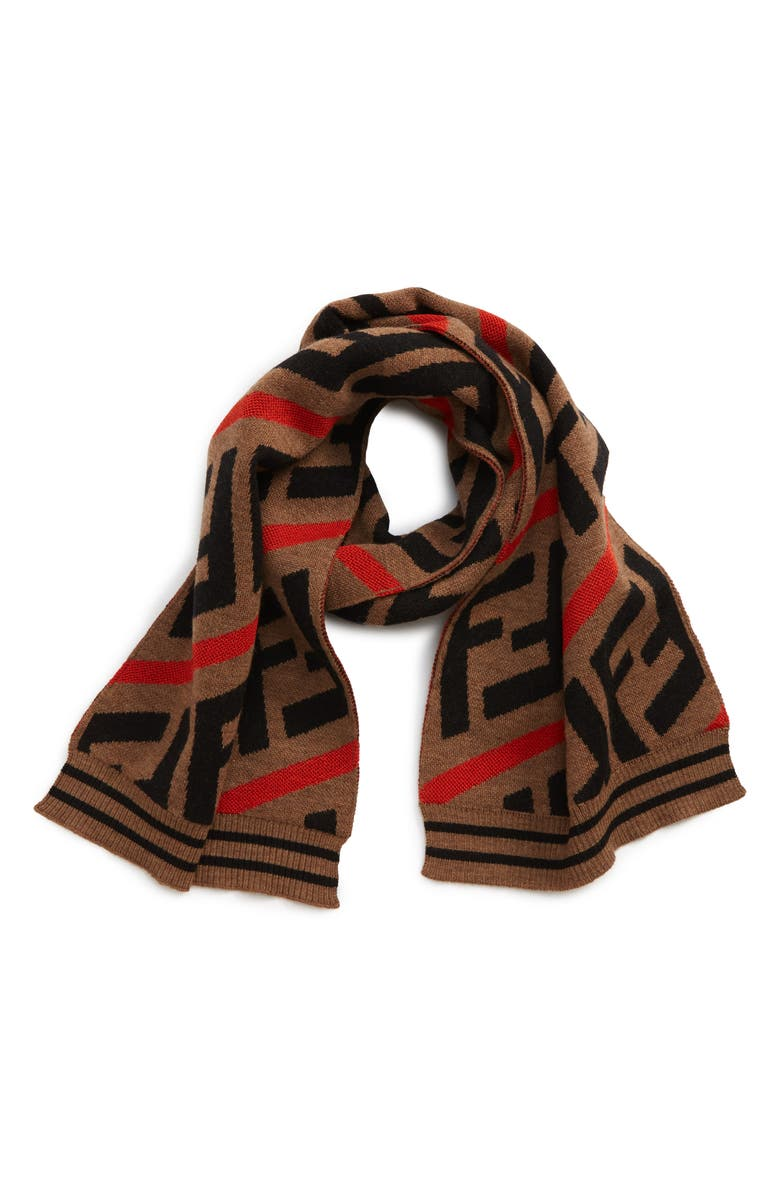 FENDI Logo Scarf, Main, color, F0H53 ORANGE