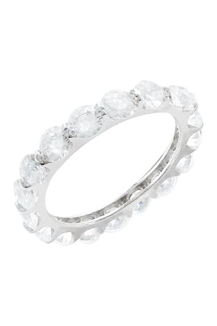 Image of Savvy Cie Sterling Silver Shared Prong Round Cut CZ Eternity Band Ring