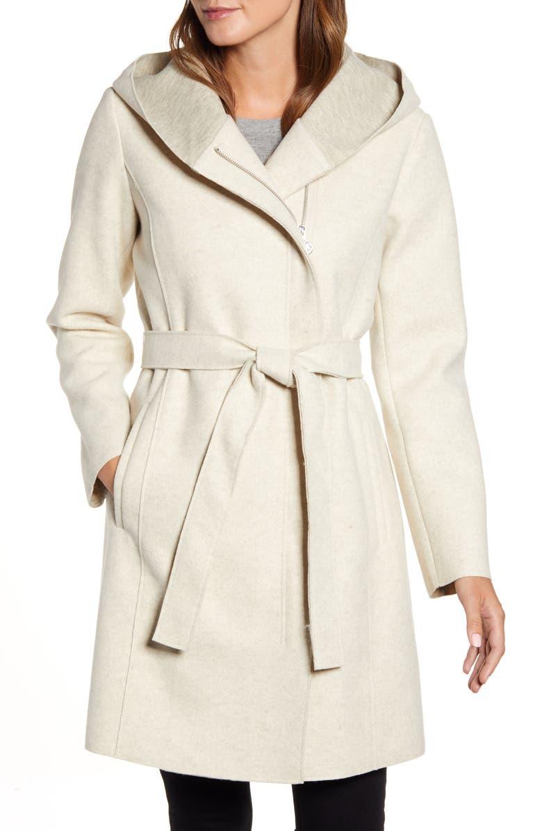 BERNARDO Hooded Faux Wrap Coat, Main, color, CREAM