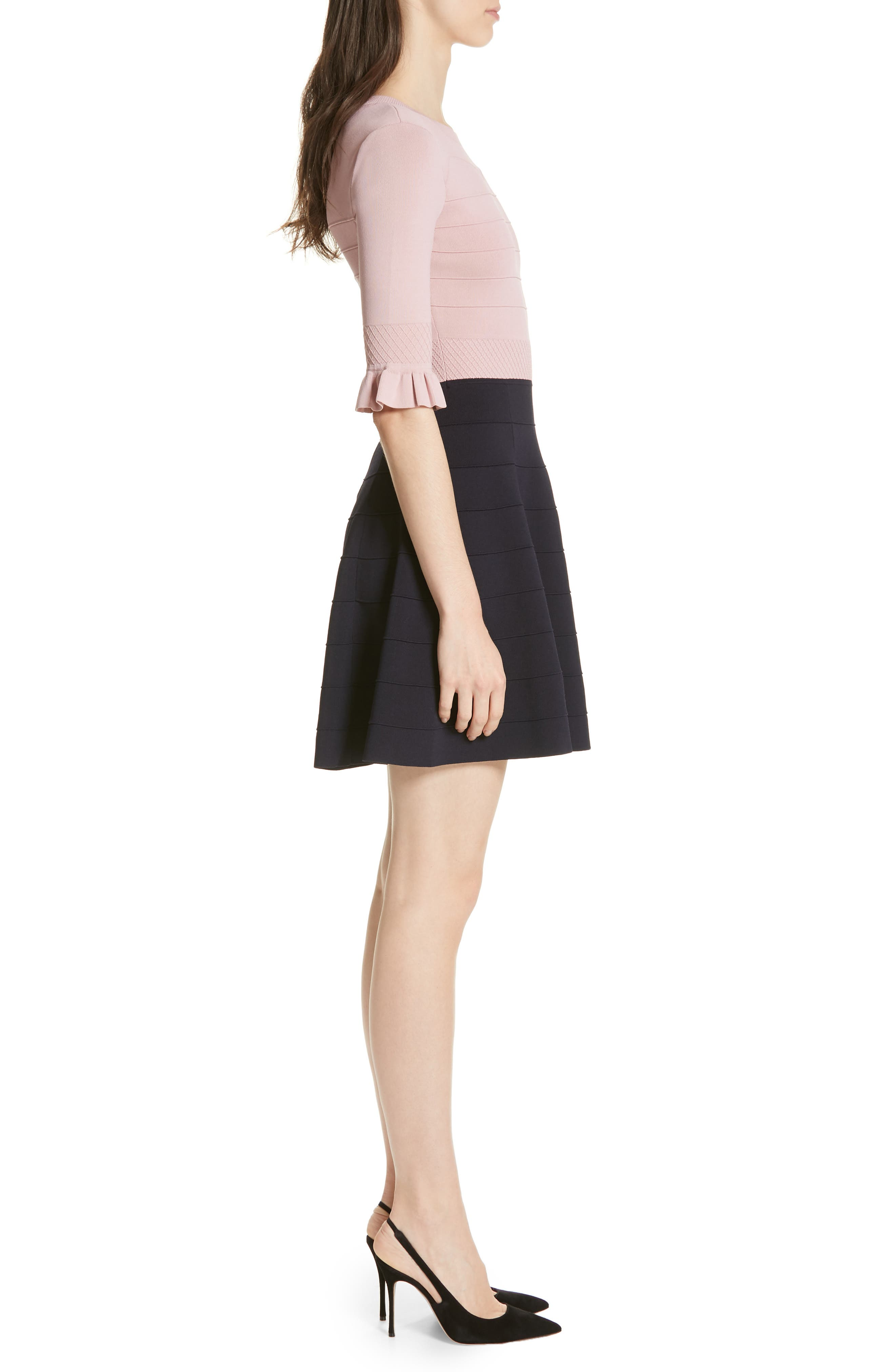 ,                             Dyana Frilled Knit Minidress,                             Alternate thumbnail 4, color,                             DUSKY PINK