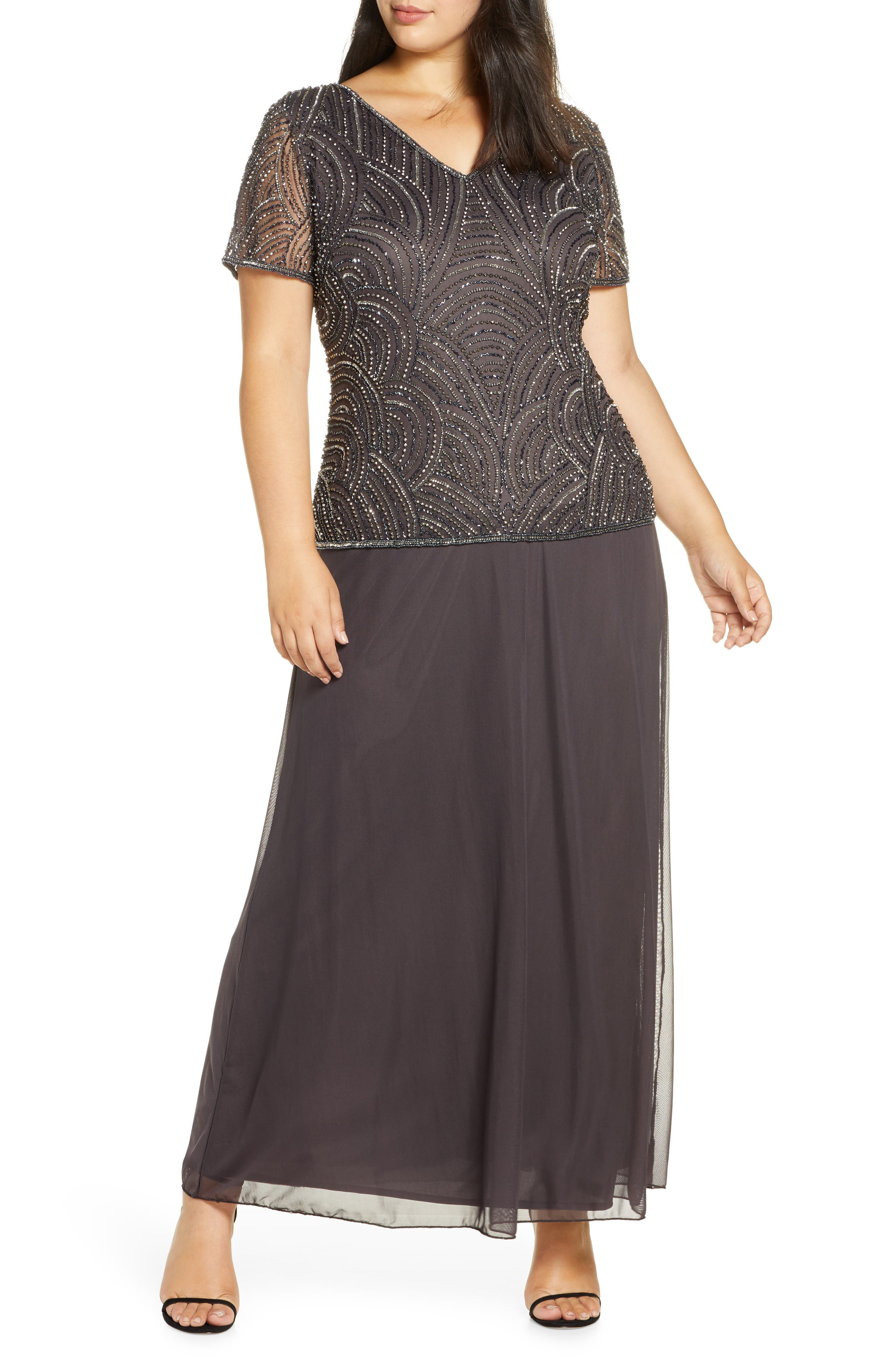 1920s Plus Size Flapper Dresses, Gatsby Dresses, Flapper Costumes Plus Size Womens Pisarro Nights Beaded Mock Two-Piece Gown $238.00 AT vintagedancer.com