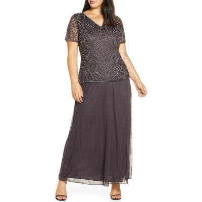 Plus Size Pisarro Nights Beaded Mock Two-Piece Gown, Grey