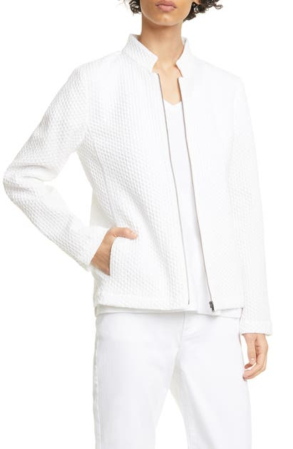 Eileen Fisher ZIP FRONT JACQUARD COTTON BLEND JACKET