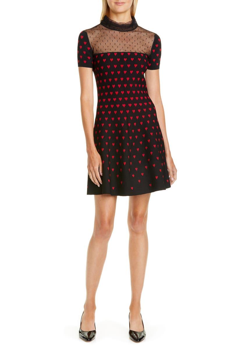 RED VALENTINO Point d'Esprit Yoke Heart Sweater Dress, Main, color, BLACK