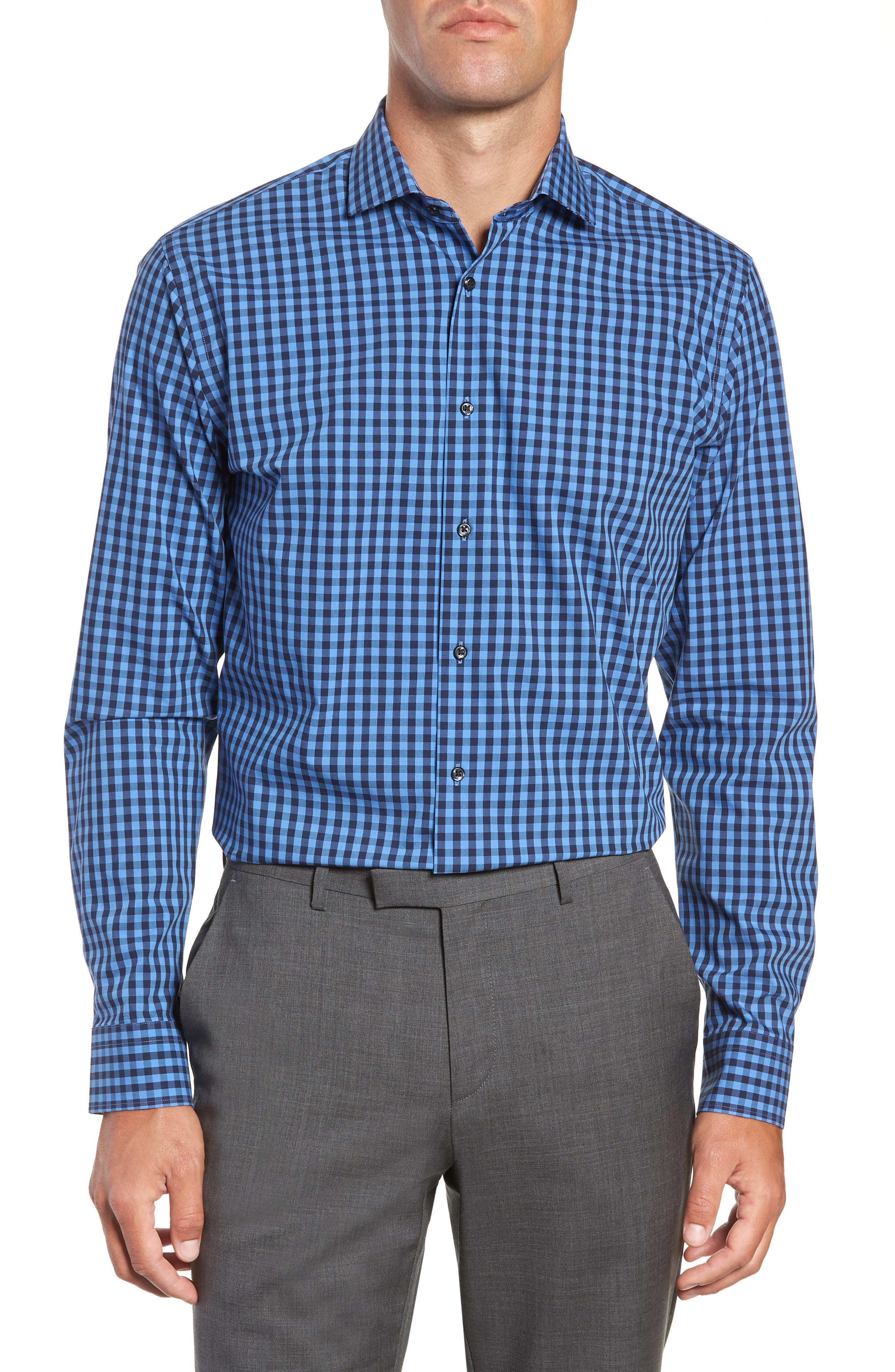 ,                             Tech-Smart Trim Fit Stretch Check Dress Shirt,                             Main thumbnail 33, color,                             455