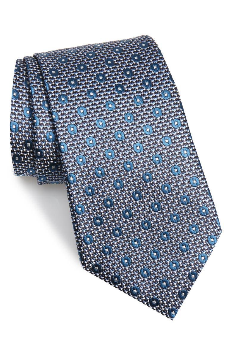 ERMENEGILDO ZEGNA Geometric Silk Tie, Main, color, BLUE/ GREEN