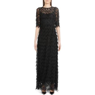 Dolce & gabbana Fringe Detail Maxi Dress, US / 46 IT - Black