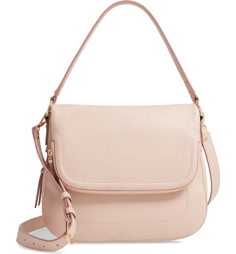 NORDSTROM Bella Leather Crossbody Bag, Main, color, PINK DUST