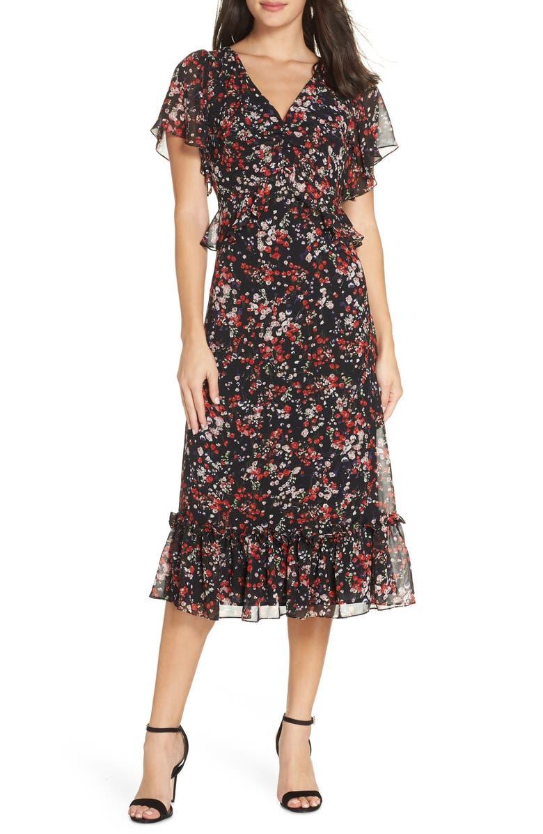 474251a5e92a Chelsea28 Floral Ruffle Midi Dress | Nordstrom