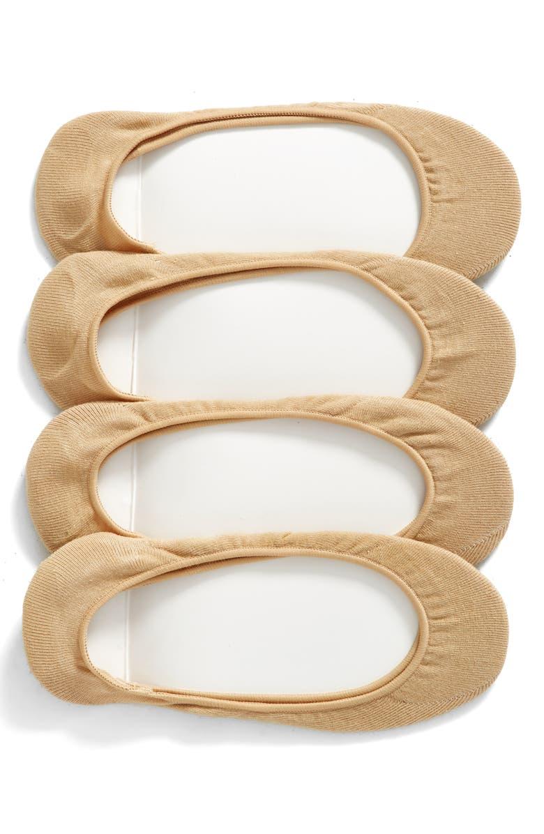 HUE 4-Pack Liner Socks, Main, color, CREAM PACK