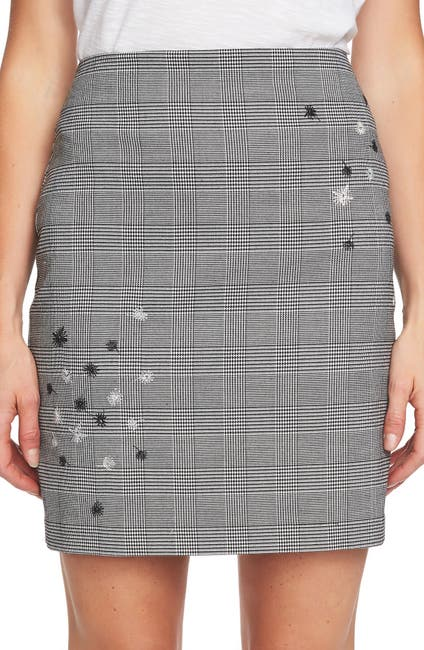 Image of CeCe by Cynthia Steffe Glen Plaid Print Embroidered Mini Skirt
