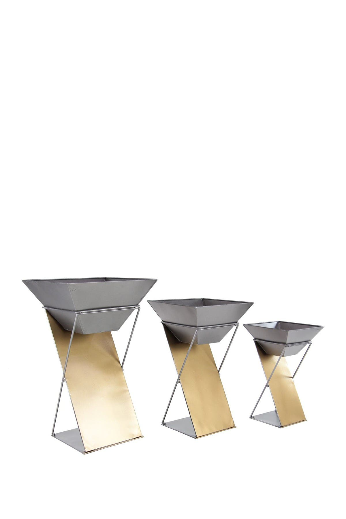 Image of Willow Row Grey Modern Inverted Trapezoid Planter - Set of 3
