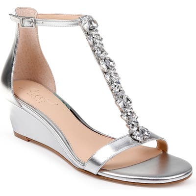 Jewel Badgley Mischka Darrell Embellished Wedge Sandal, Metallic