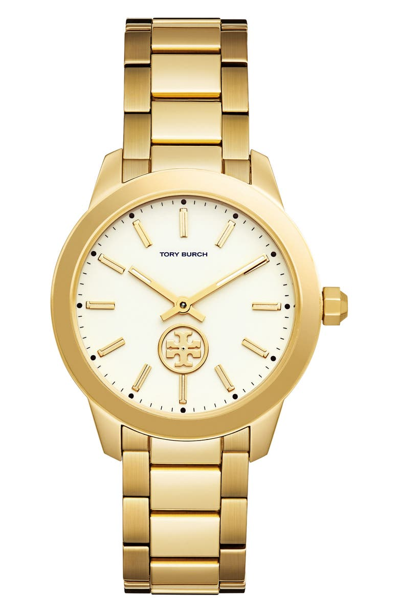 TORY BURCH Collins Bracelet Watch, 38mm, Main, color, GOLD/ IVORY/ GOLD