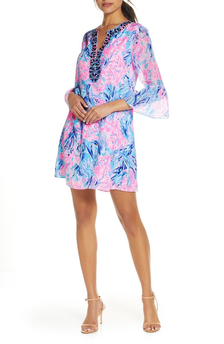 LILLY PULITZER<SUP>®</SUP> Elenora Silk Dress, Main, color, PERIWINKLE PURPLE FAN SEA