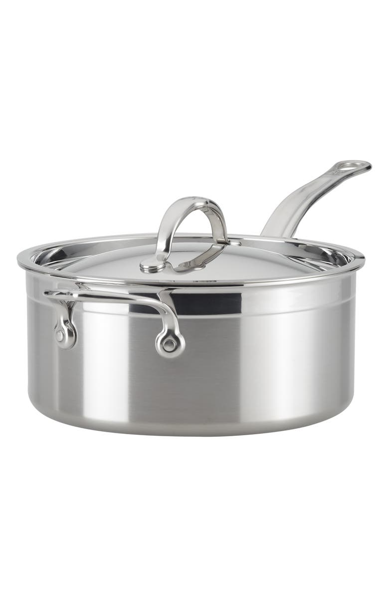 HESTAN ProBond 4-Quart Saucepan with Lid, Main, color, STAINLESS STEEL