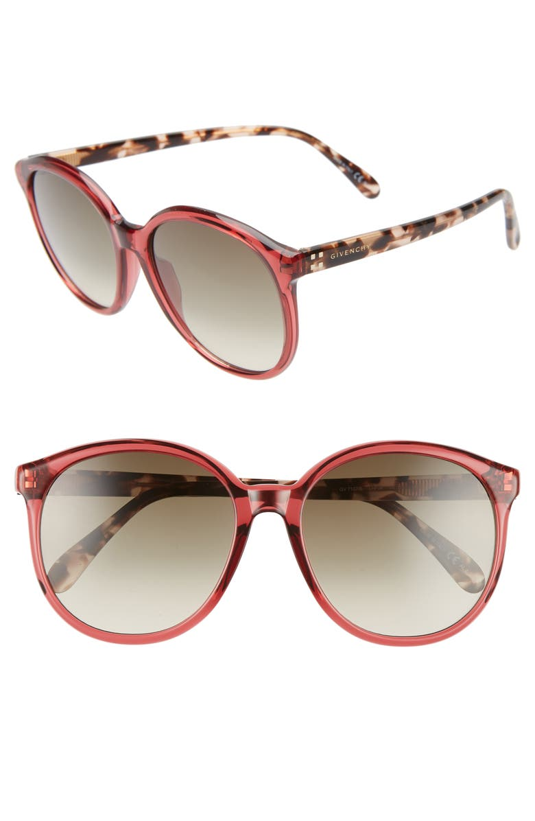 GIVENCHY 56mm Round Sunglasses, Main, color, OPLE BURGUNDY