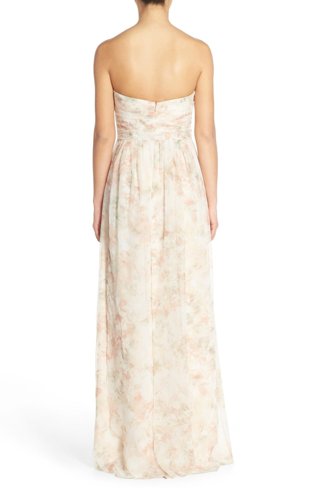 ,                             Nyla Floral Print Convertible Strapless Chiffon Gown,                             Alternate thumbnail 2, color,                             690