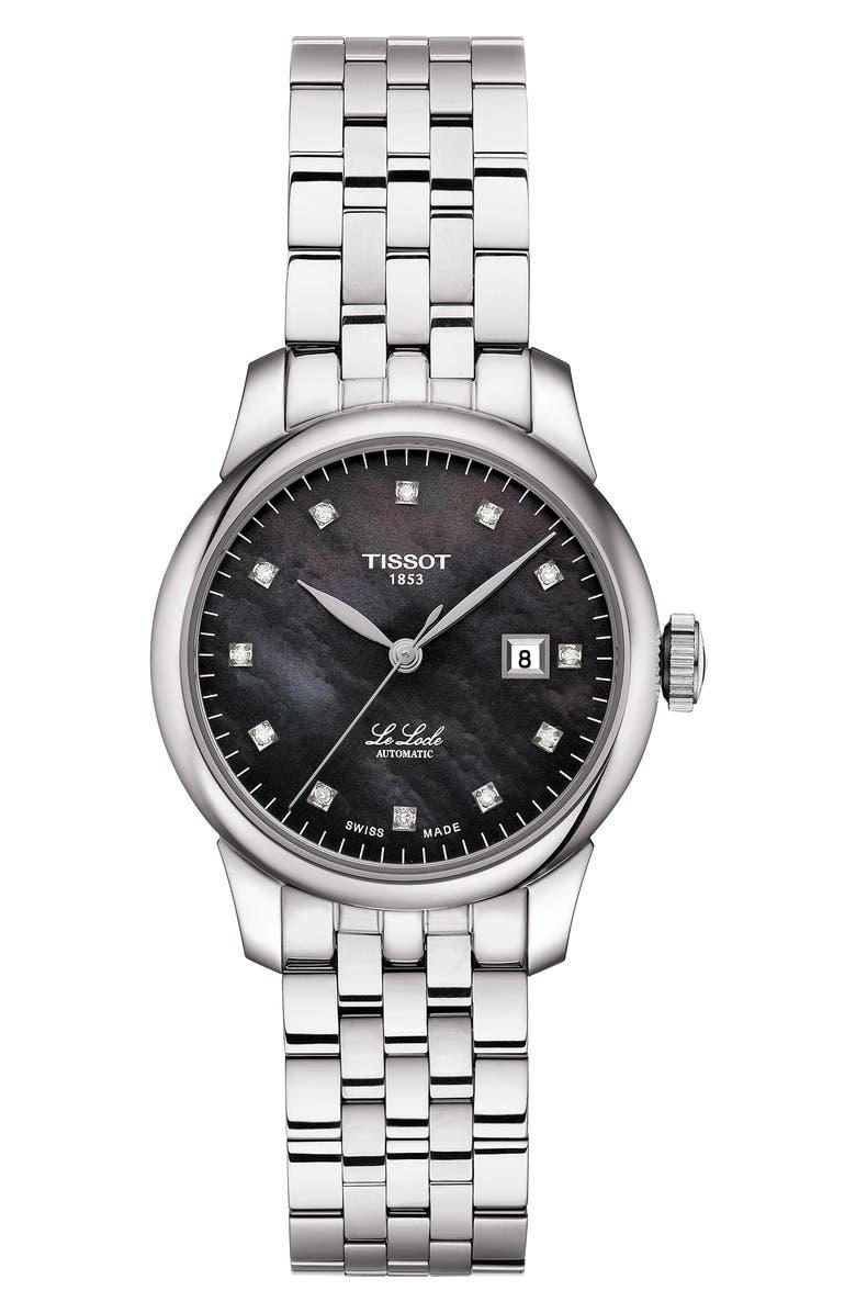 TISSOT Le Locle Diamond Bracelet Watch, 29mm, Main, color, SILVER/ BLACK MOP/ SILVER