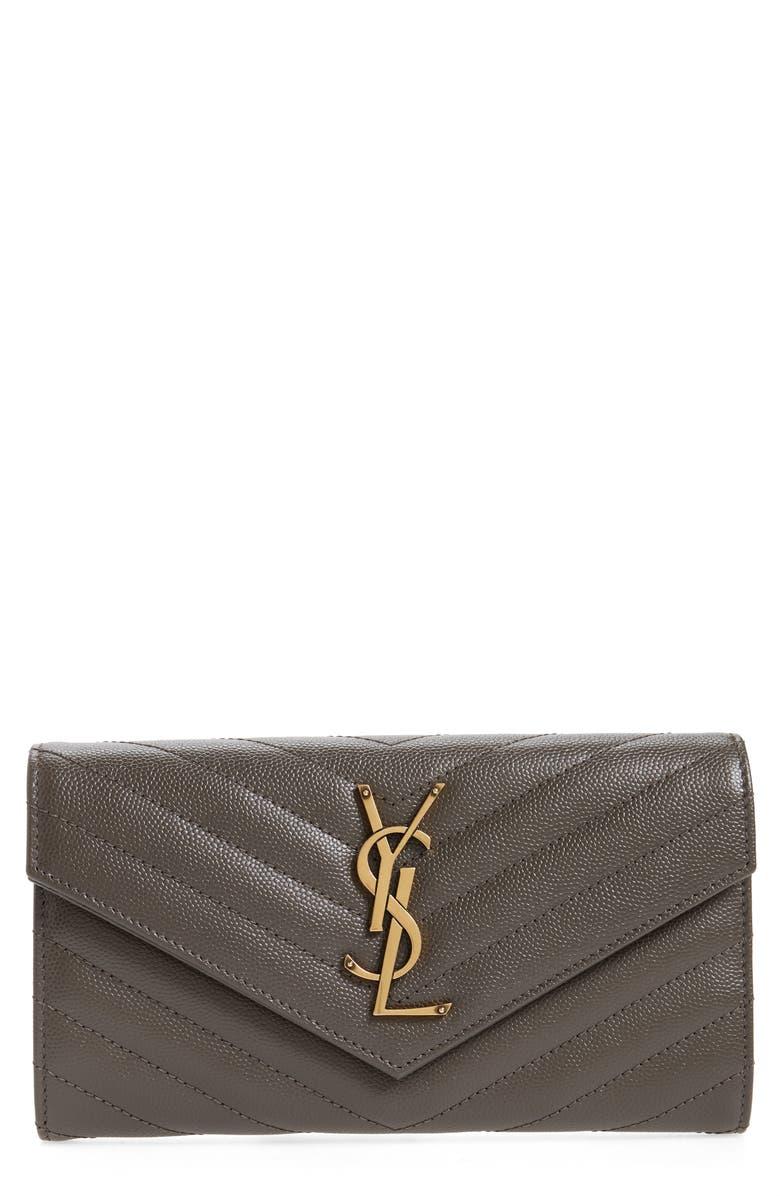 SAINT LAURENT Monogram Logo Leather Large Flap Wallet, Main, color, PEBBLE