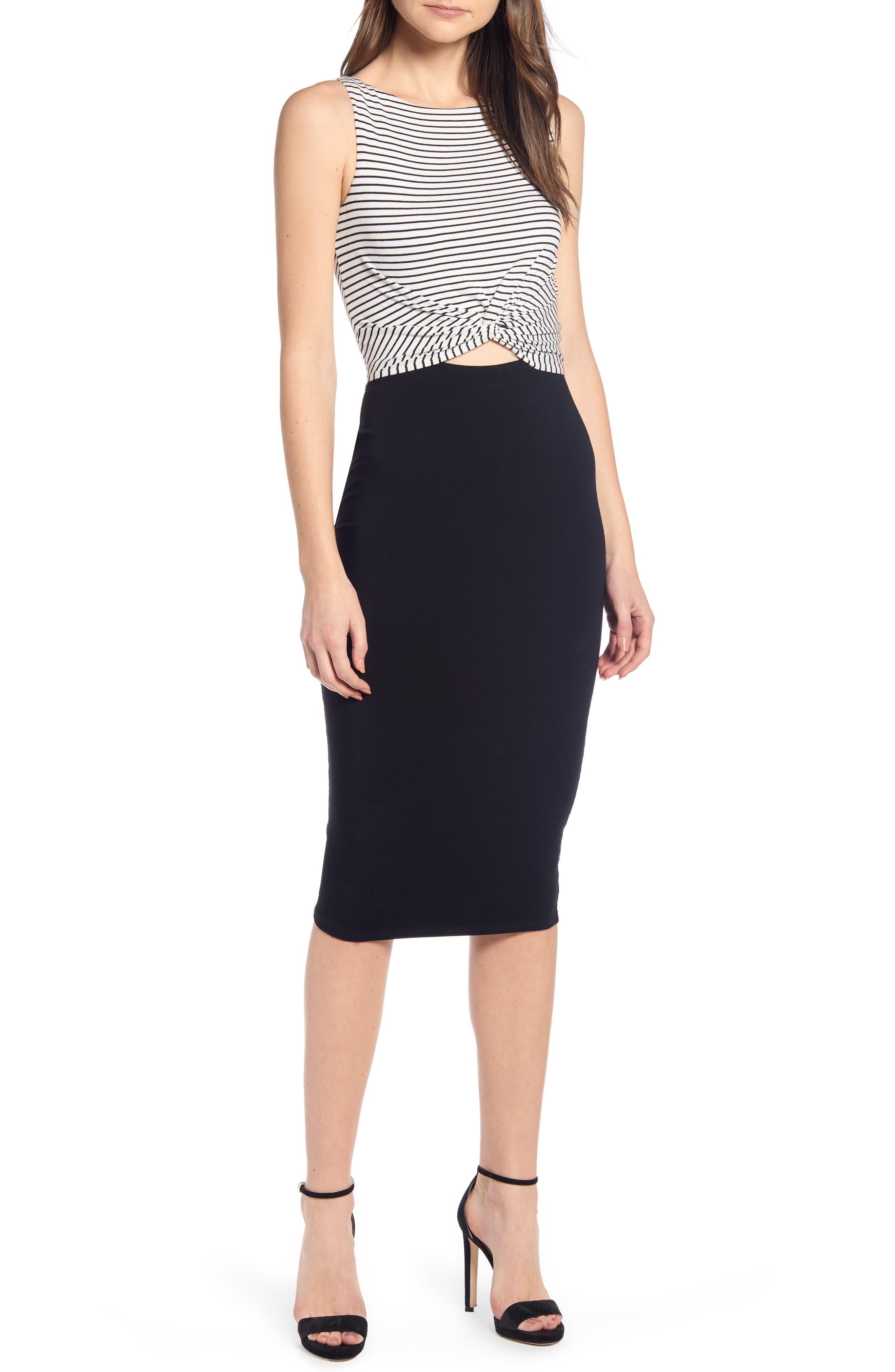Bailey 44 Rabbit Hole Stripe & Solid Twist Keyhole Dress, White