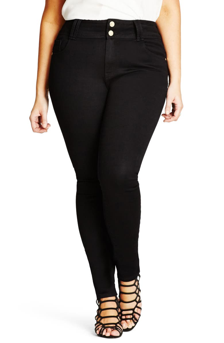CITY CHIC Asha Stretch Skinny Jeans, Main, color, BLACK