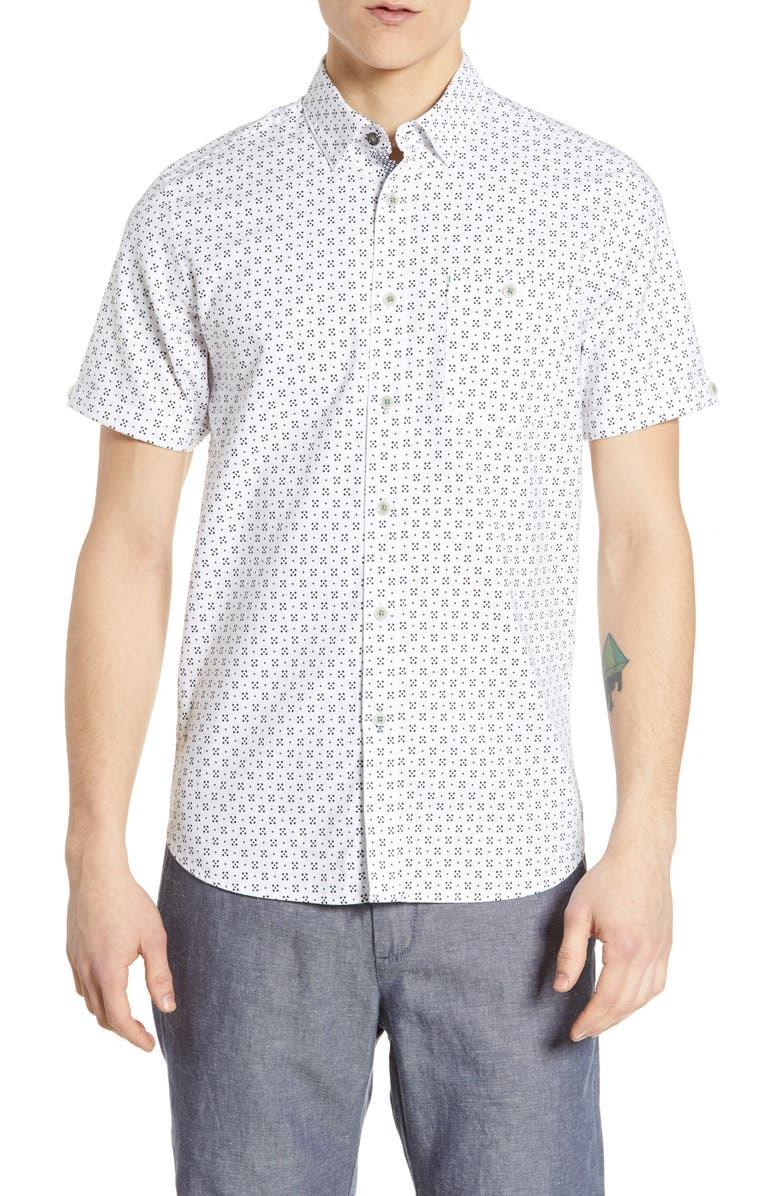 TED BAKER LONDON Polarbe Slim Fit Dot Print Woven Shirt, Main, color, 110