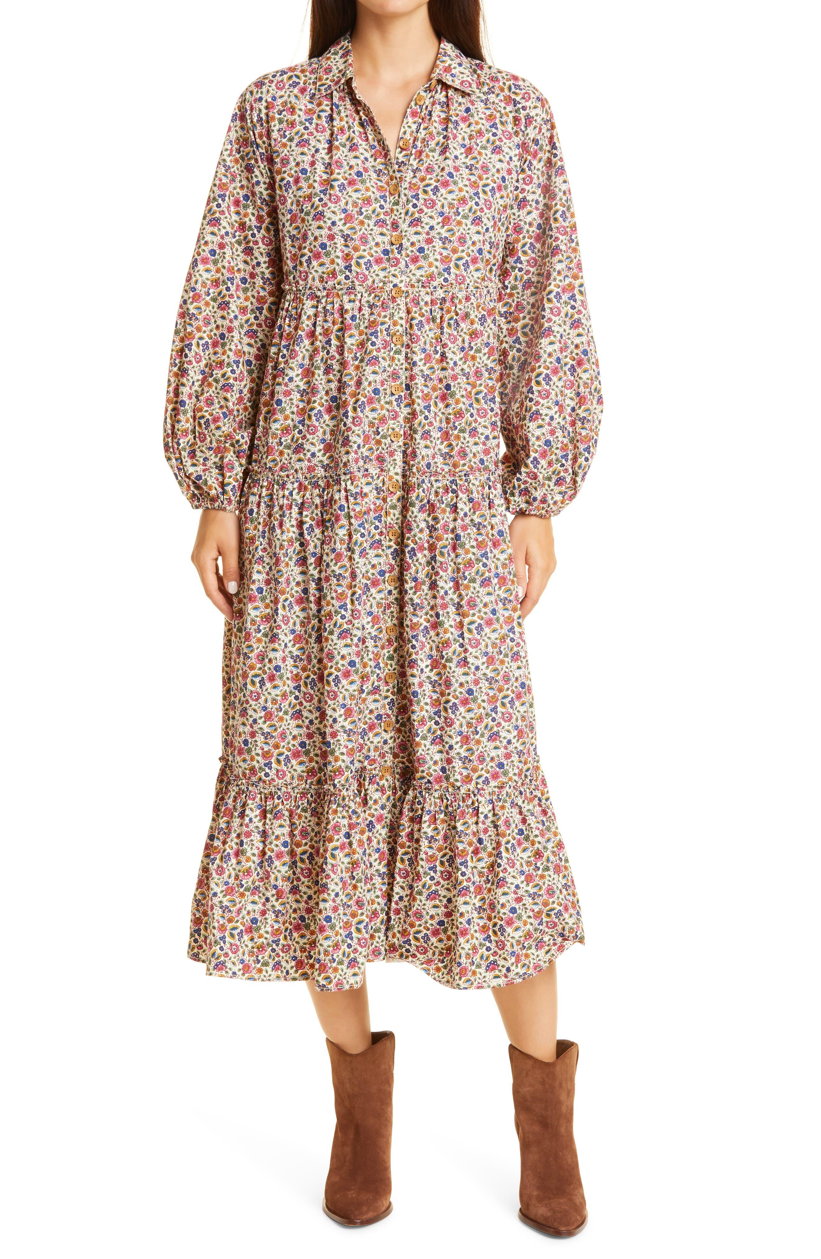 '50S Cotton Long Sleeve Shirtdress