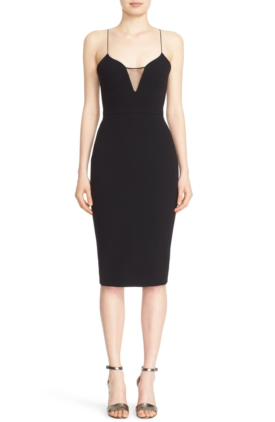 ,                             Victoria Beckham Sheer Inset Crepe Tulle Dress,                             Main thumbnail 1, color,                             001