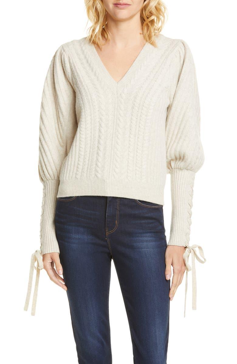 ULLA JOHNSON Brisa Wool & Cashmere Sweater, Main, color, CREAM