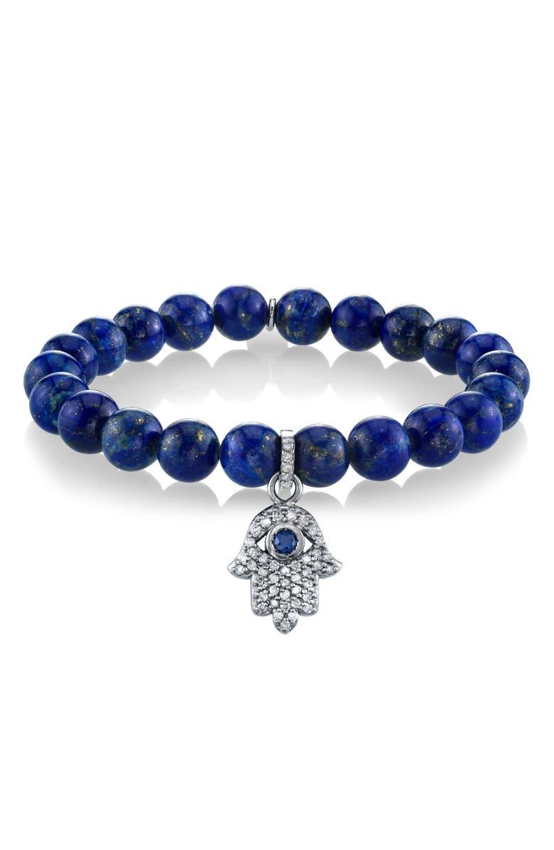 SHERYL LOWE Hamsa Charm Lapis & Diamond Bracelet, Main, color, LAPIS