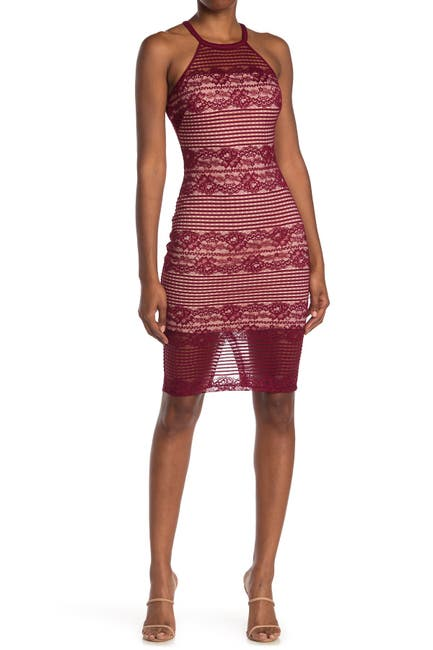 Image of GUESS Illusion Halter Neck Lace Bodycon Dress