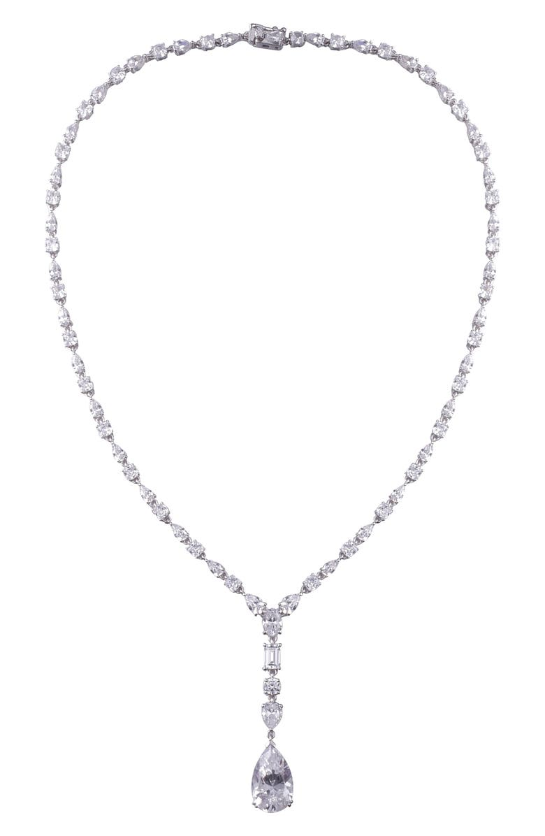 LAFONN Fancy Simulated Diamond Pendant Necklace, Main, color, SILVER/ CLEAR