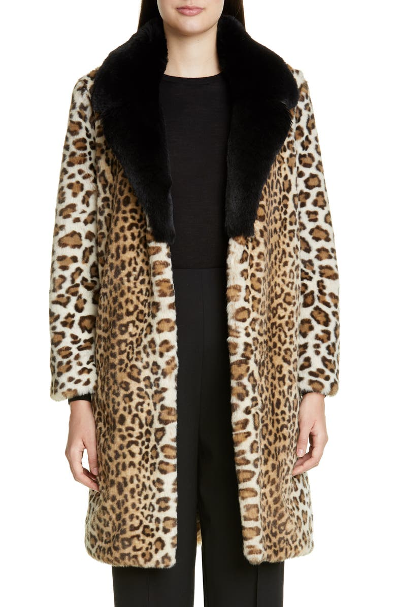 ST. JOHN COLLECTION Faux Ocelot Fur Coat, Main, color, 260