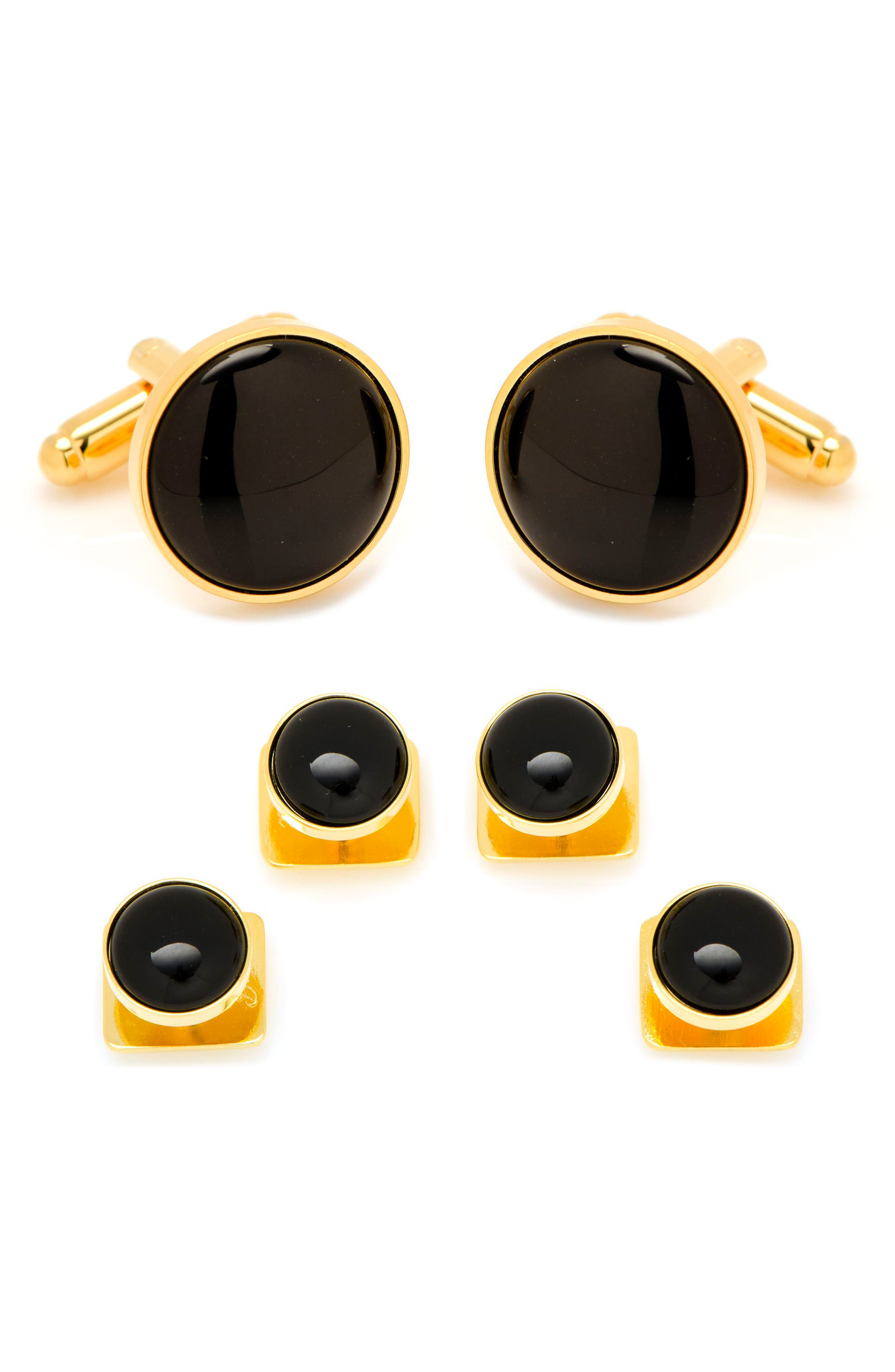 1920s Mens Evening Wear Step By Step Mens Cufflinks Inc. Onyx Cuff Link  Stud Set $95.00 AT vintagedancer.com