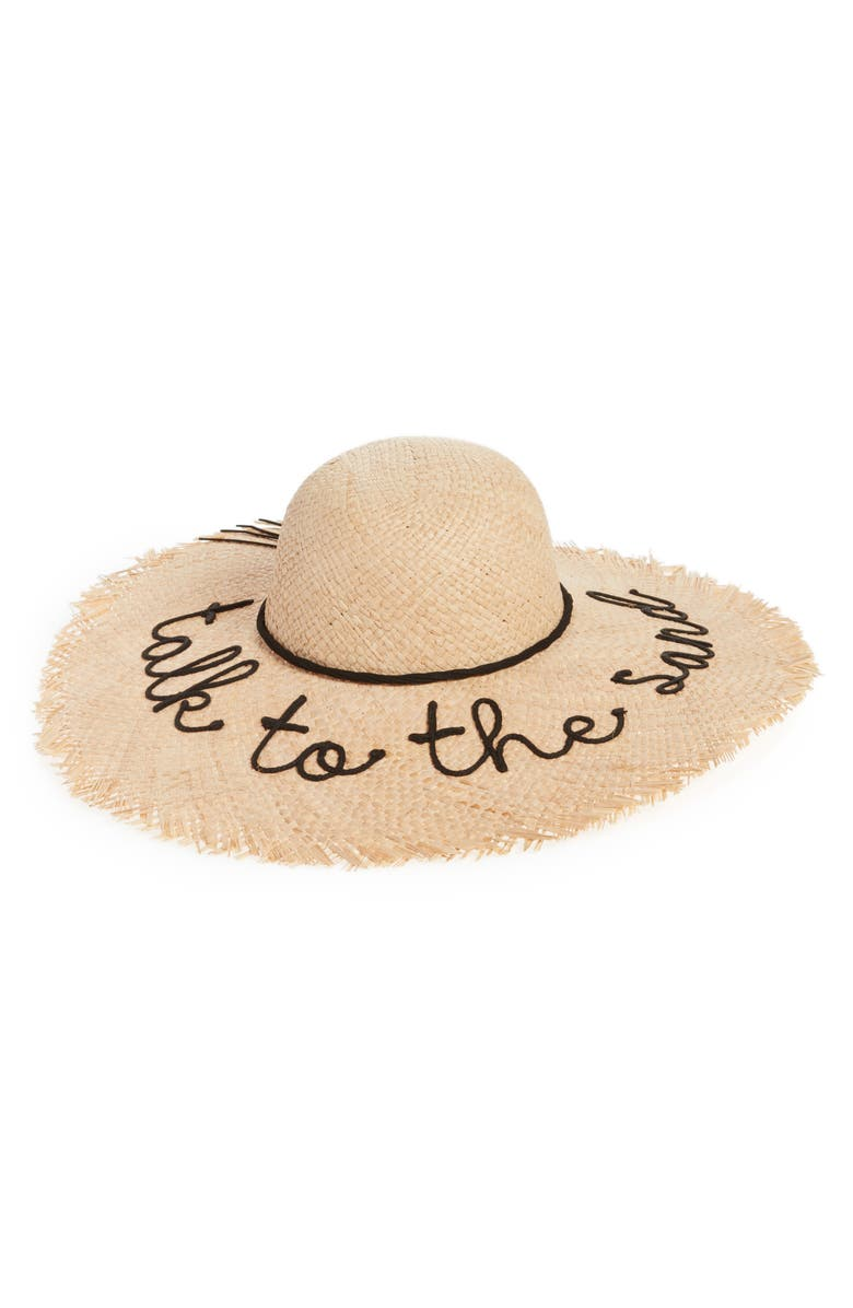 NYC UNDERGROUND Frayed Edge Floppy Straw Hat, Main, color, 250
