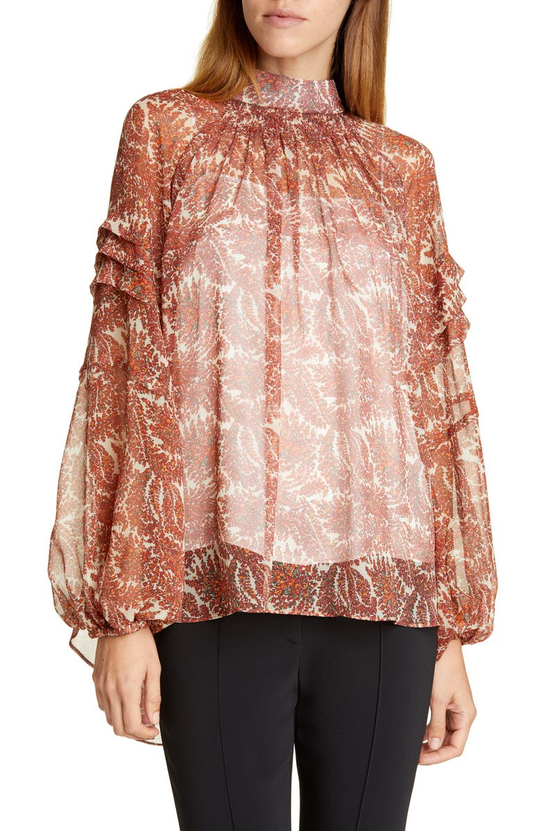 ADAM LIPPES Smocked Paisley Print Silk Chiffon Blouse, Main, color, CREAM PAISLEY