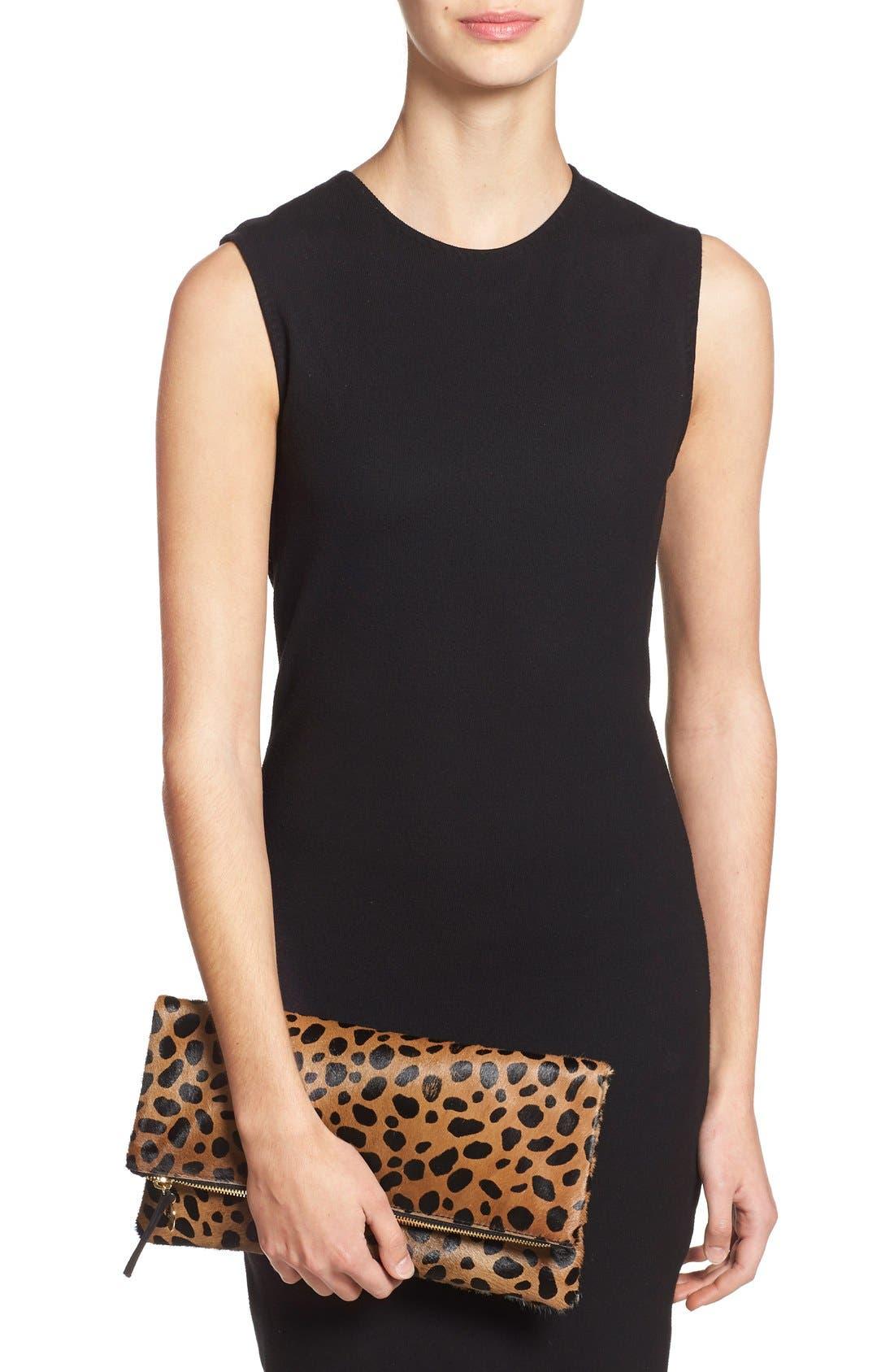 ,                             Genuine Calf Hair Leopard Print Foldover Clutch,                             Alternate thumbnail 8, color,                             250
